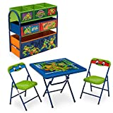 Nickelodeon Teenage Mutant Ninja Turtles Playroom Solution Set (Table & Chair Set + Metal Multi-Bin Toy Organizer)
