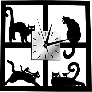 The Geeky Days Adorable Cats in The Window Wall Clock Four Cats Decorative Non Ticking Wall Watch Battery Operated 3D Black Kitten Slient Quartz Clock Home Decor Cat Gifts