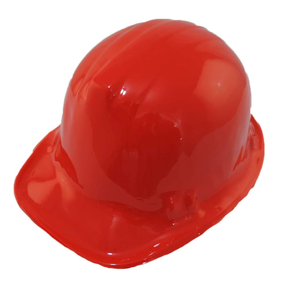 RED Kid's Plastic Miner Construction Hard Hats Set Of 12 by Windy City Novelties