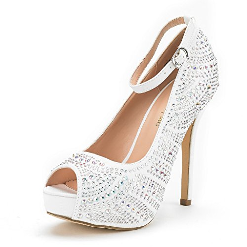 DREAM PAIRS Women's Swan-10 Shine White High Heel Plaform Dress Pump Shoes - 10 M US -