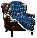Chanasya Warm Hugs Positive Energy Healing Thoughts Super Soft Plus Fleece Sherpa Microfiber Comfort Caring Blue Gift Throw Blanket - Get Well Soon Gift for Women Men Cancer Patient - Blue Blanket