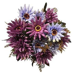 LoveniMen Artificial Chrysanthemum Flowers, Real Touch Silk Daisy Plastic Plants Home Decorations for Bridal Wedding Bouquet Bunches Hotel Party Garden Floral Décor Purple 2pack