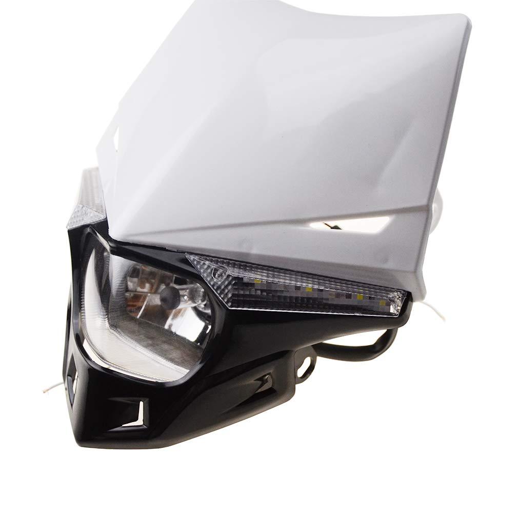 GOOFIT Schwarz H4 12V 35W Scheinwerfer Mini Blinkerleuchten Lichtmaske mit Front Verkleidung f/ür Motorrad Motocross Racer ATV Motorrad Dirtbike Pocketbike