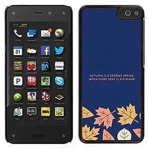 EJOY---Cubierta de la caja de protección para la piel dura ** Amazon Fire Phone ** --La caída del otoño de texto minimalista Azul marino