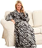 Snuggie Fleece Blanket with Sleeves Zebra