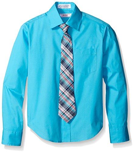 Izod Big Boys Long Sleeve Broadcloth Shirt And Tie Set