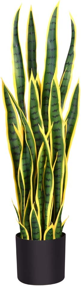 Amazon Com Fopamtri Artificial Snake Plant 38 Inch Fake Sansevieria Perfect Faux Plants For Home Garden Office Store Decoration 32 Leaves 38 Inch 1 Pack Yellow Kitchen Dining