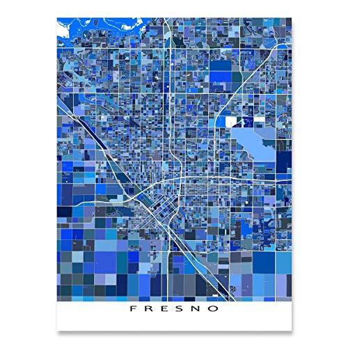 Fresno Map Print, California, CA, USA City Street Art, Blue