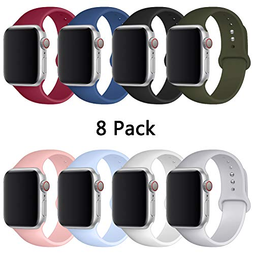 YOUKEX Sport Band Compatible with Watch 38mm 40mm 42mm 44mm,Soft Silicone Strap Replacement Wristbands Compatible with Watch Sport Series 4 Series 3 Series 2 Series 1(8 Pack)