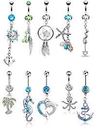 10 Pcs Dangle Belly Button Rings for Women Girls 316L Surgical Steel Curved Navel Barbell Body Jewelry Piercing