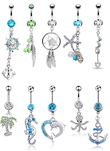 FIBO STEEL 9-10 Pcs Dangle Belly Button Rings for Women Girls 316L Surgical Steel Curved Navel Barbell Body Jewelry Piercing (Green Belly Ring Button Silver)