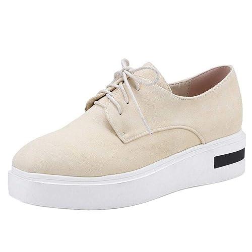 Kaizi Karzi Mujer Clasico Tacon Bajo Zapatos De Vestir Cordones Punta Cuadrada Zapatillas Beige Size 33