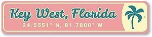 "Key West, Florida Coordinates, Palm Tree Beach Sign, Key West Arrow Sign, Beach House Decorative Aluminum Sign - 4"" x 18"""