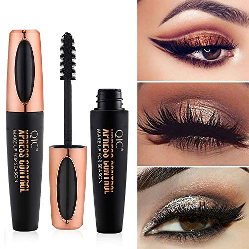 Natural 4D Silk Fiber Lash Mascara, Lengthening and Thick, Long Lasting, Waterproof & Smudge-Proof, All Day Exquisitely Lush, Full, Long, Thick, Smudge-Proof Eyelashes ()