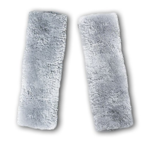 Zento Deals Soft Faux Sheepskin Seat Belt Gray Shoulder Pad- Two Pack- A Must Have for All Car Owners for a More Comfortable Driving (Car Seat Warmer Gray Color)