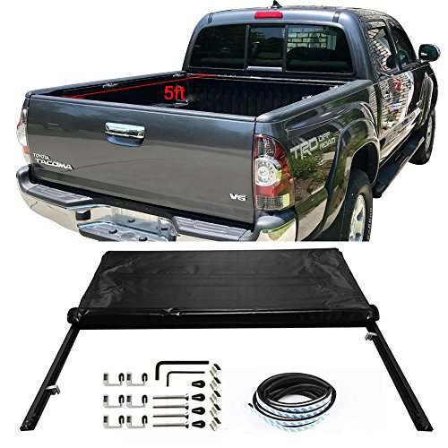 Tonneau Cover Fits 2005-2015 TOYOTA TACOMA | Roll and Lock Soft Style Double sided 24 oz vinyl Aluminum Black Double Cab With 60in Bed By IKON MOTORSPORTS | 2006 2007 2008 2009 2010 2011 2012 2013