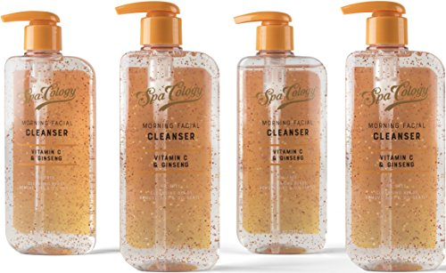 Spacology Morning Burst Cleanser Containing Vitamin C & Ginseng, Oil-Free with Cleansing Beads, 8 Ounce (Pack of 4)