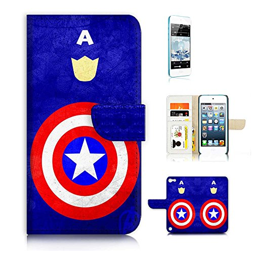 ( For ipod 5, itouch 5, touch 5 ) Flip Wallet Case Cover & Screen Protector Bundle! A20029 Captain America