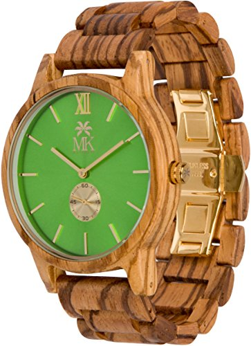 Wooden Watch For Men Maui Kool Kaanapali Collection Zebra Wood Watch Green Face Bamboo Gift Box