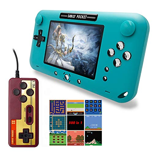 EASEGMER Handheld Games Console, 500 Retro FC Games 4 Inch Video Game Handheld Console – 12 Bit Rechargeable Game Player…