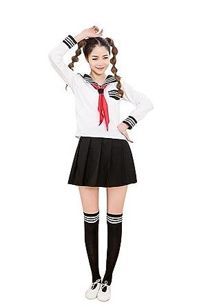 Disfraz de colegiala japonesa para mujer de Nuoqi. blanco GC47B UK ...