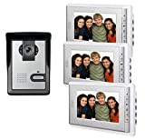 "AMOCAM 7"" LCD Monitor Wired Video Intercom Doorbell for home security systems 1- Camera 3- monitor Video Door Phone Bell Kits support Monitoring, Unlock, Dual-way Door Intercom IR Night Vision"