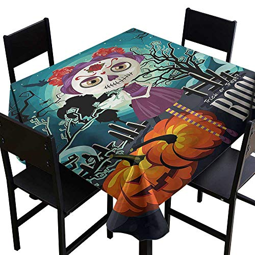 haommhome Restaurant Tablecloth Halloween Girl Sugar Skull Makeup Easy to Clean W50 xL50 Washable Polyester - Great for Buffet Table, Parties, Holiday Dinner, Wedding & More ()