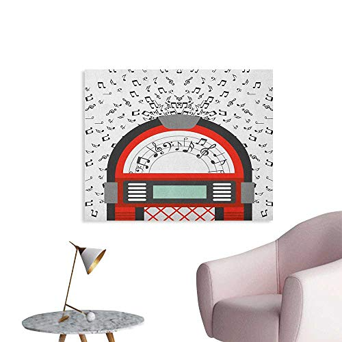 Anzhutwelve Jukebox Wallpaper Cartoon Party Music Antique Old Vintage Retro Box with Notes Artwork Cool Poster Red Black Grey and White W48 xL32 ()