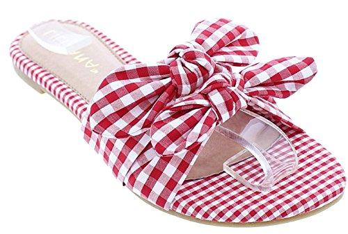Bow Tie Open Toe (Liliana Carnival-6 Women Bow Tie Open Toe Flip Flops Slides Sandals Gingham Red 9)