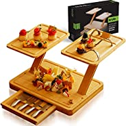Cheese Board and Charcuterie Knife Set - Bamboo Modular Platter Serving Tray Extra Large Slide-Out Drawer with