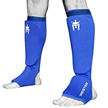 Meister MMA 1063CSGBL-LXL Elastic Cloth Shin and Instep Padded Guards, Blue