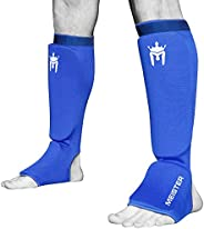 Meister Elastic Cloth Shin & Instep Padded Guards (Pair) - Blue - Large/X-L