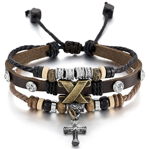 MOWOM Genuine Leather Bracelet Adjustable