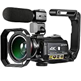 4K Camcorder ORDRO 3.1'' IPS Touch Screen Ultra HD IR Night Vision Video Camera 24MP 1080P 30FPS 30X Digital Zoom WiFi Camera Camcorder Microphone Wide Angle Lens, Lens Hood, Camera Holder
