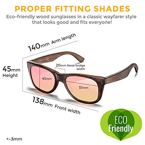 Wood Sunglasses Polarized for Men and Women by CLOUDFIELD - Wooden Wayfarer Style - 100% UV Protection - Premium Build Quality - Bamboo Wooden Frame - Perfect Gift by cloudfield (Image #5)