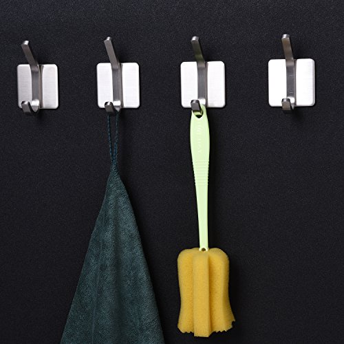 YIGII Towel Hook/3M Hooks - Adhesive Hooks Bathroom Wall Hooks Bath Show Robe Hook Self Adhesive Coat Hook Stick on Wall Stainless Steel Brushed 4-Pack by YIGII (Image #3)