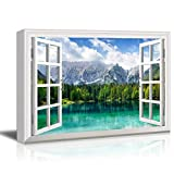 Canvas Prints Wall Art - Window View Landscape with Lake and Trees in Mountain Gallery 12'' x 16'' inches