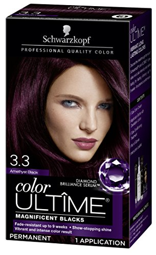 Schwarzkopf Color Ultime Hair Color Cream, 3.3 Amethyst Black (Packaging May Vary)