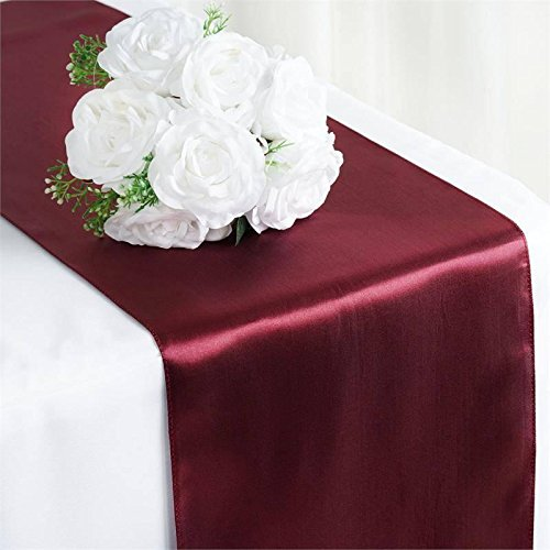 "Efavormart 10 Packs of Premium Satin Table Top Runner for Weddings Birthday Party Fit Rectangle and Round Table 12"" x 108"" Burgund"