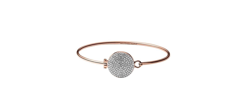 81992784bc15d Michael Kors MKJ3893 Rose Gold Tone Bangle Bracelet W Crystal Pave ...