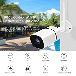JOOAN 1080P Wireless Security Cameras, 2MP HD WiFi IP Home Surveillance Camera System with Super Night Vision,Motion Detection,Two Way Audio for Indoor Outdoor Waterproof Bullet Camera