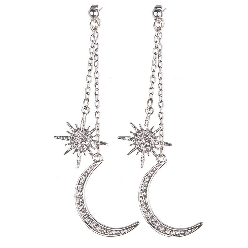 Sinwo Women Exquisite Clear Crystal Rhinestone Moon Star Dangle Drop Link Cuff Stud Earrings Gift (Silver)