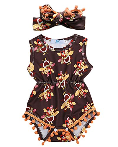Baby Girls Sleeveless Full Thanksgiving Turkeys Print Pom Pom Romper with Headband (0-6M, Coffee) (Baby Girl Thanksgiving Outfit)