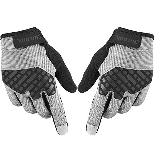 KUTOOK Airsoft Gloves Men Touch Screen for Hunting Driving Hiking Grey Medium