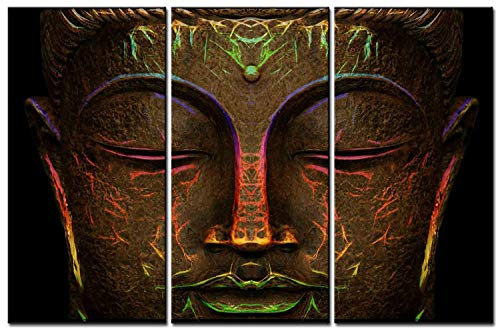 SmartWallArt - Wall Paintings Canvas Print Wall Decor Hanging Artwork | 4 Panel Picture Photo Printing on Canvas for Modern Home Decoration (07: Glowing Light Bronze Statue of Buddha's Face)