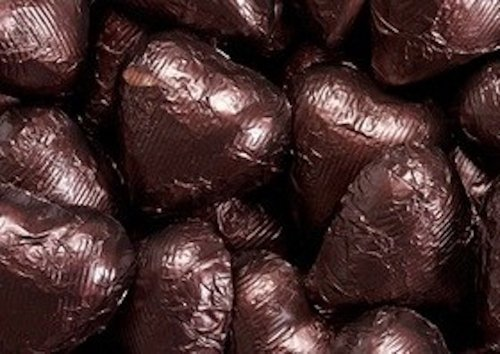 Brown Foiled Milk Chocolate Hearts 5LB Bag by The Nutty Fruit House