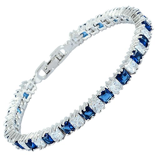 RIZILIA Ice Cube Princess Cut Simulated Blue Sapphire CZ 18K White Gold Plated Tennis Bracelet, 7
