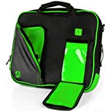 VanGoddy Pindar Sling Pro Deluxe Shoulder Messenger Carrying Bag BLACK & LIME FOREST GREEN for Apple iPad : All Generation and Series ( Excluding Pro 12inch )