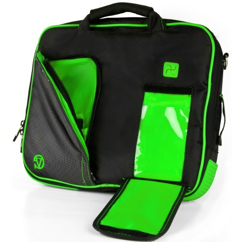 VanGoddy Pindar Messenger Carrying Bag for Samsung Galaxy Note PRO 12.2/Samsung Galaxy Tab PRO 12.2'' Tablets + Bluetooth Keyboard + Headphones (Green) by Vangoddy (Image #2)