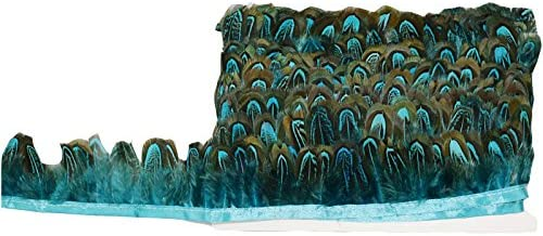 KOLIGHT Pack of 2 Yards Fashion Natural Dyed Pheasant Feather Trim Fringe 2inch in Width DIY Decoration Turquoise